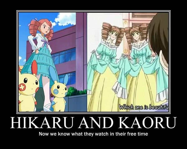 Left: Ursula from Pokemon: Diamond and Pearl  Right: Hikaru and Kouru from Ouran High School Host Club