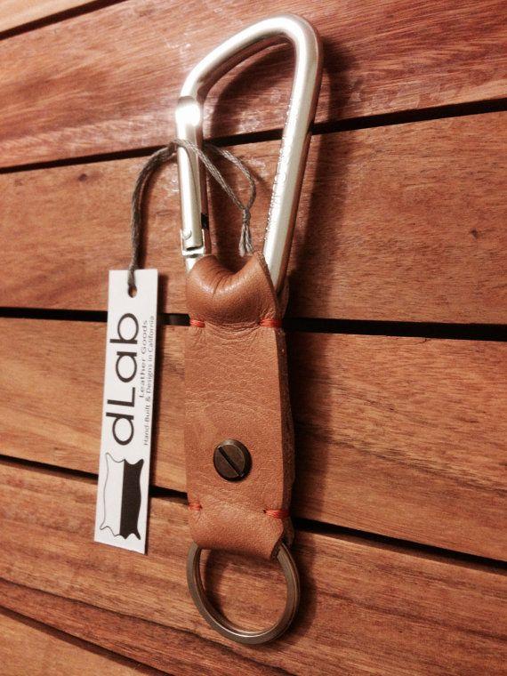 100% Handmade Leather Key Fob w/ Aluminum Alloy Carabiner Snap Hook on Etsy, $29.00