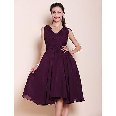 Lanting+Bride®+Knee-length+Chiffon+Bridesmaid+Dress+A-line+/+Princess+V-neck+Plus+Size+/+Petite+with+Bow(s)+/+Draping+/+Ruching+–+USD+$+69.99