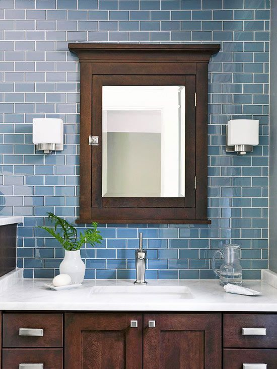 Install a medicine cabinet for Dark blue bathroom tiles