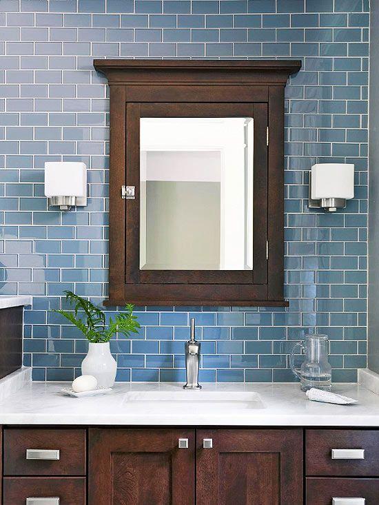 Dark Blue Subway Tile Bathroom: Install A Medicine Cabinet