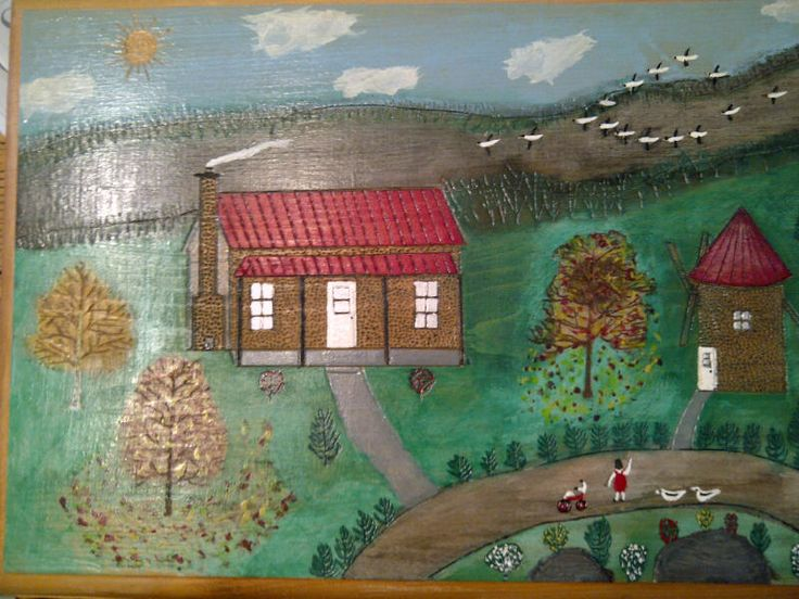Another excellent piece of folk art by the same artist. Also has incised details on buildings and elsewhere.