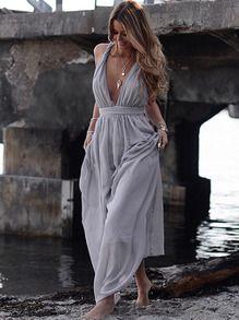 Robe long col V plongeant avec nœud -violet clair -French SheIn(Sheinside)