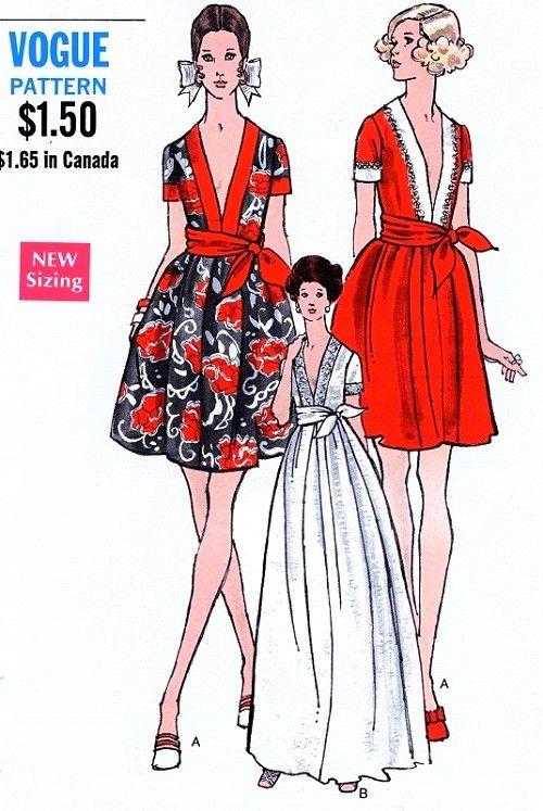1960s Mod Low Cut Evening Dress Pattern Vogue 7707 ...
