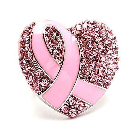 """Pink Ribbon Breast Cancer Awareness Jewelry Crystal Heart Stretch Ring Pink Accessoriesforever. $12.50. Item Name: Pink Ribbon Stretch Ring. Style: Pink Ribbon, Heart. Lead Compliant. Dimensions (Size): Approx. 1.25"""" L x 1.25"""" W, Stretchable / Adjustable Band. Material: Pink Crystal Rhinestones, Pink Enamel Coated, Metal Casting, Rhodium / Silver Plated. Color: Pink, Silver"""
