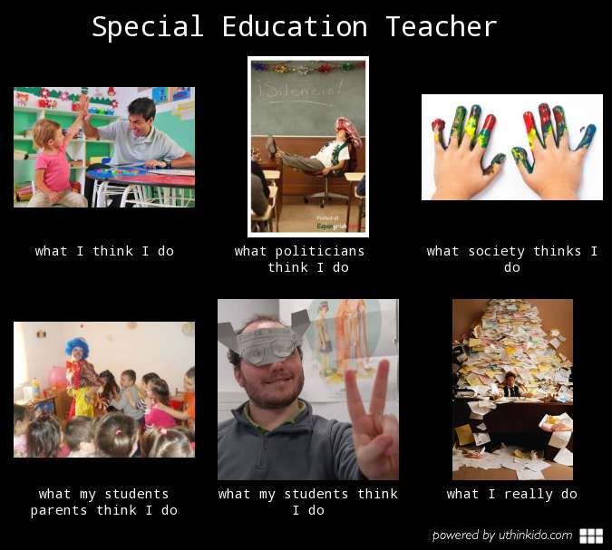 Special education teacher, What people think I do, What I really do meme image - uthinkido.com