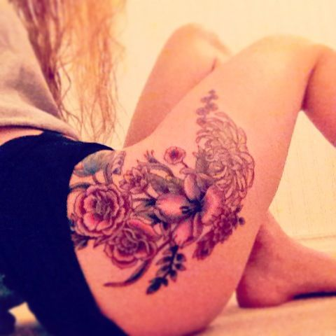 flower side hip tattoos - photo #35