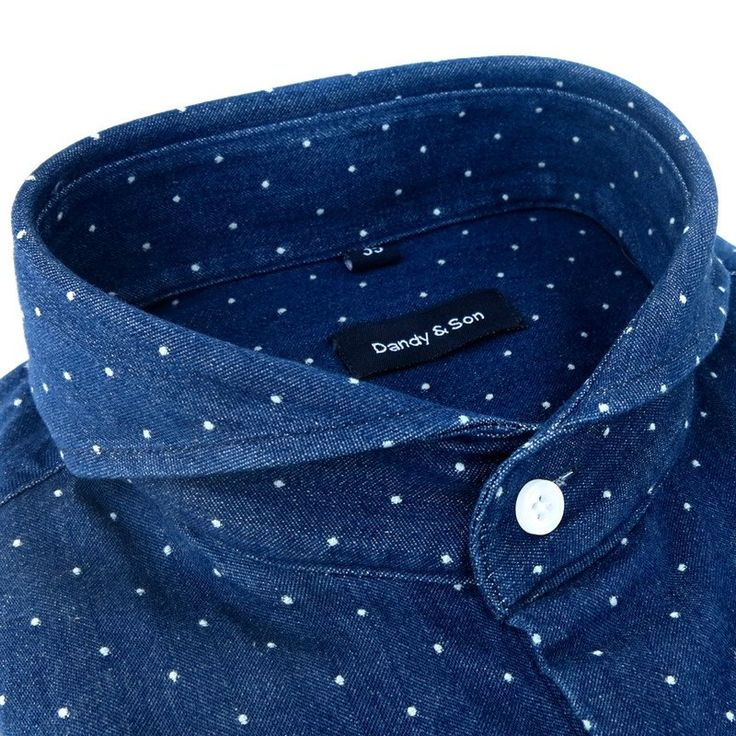 Extreme Cutaway Dark Polka Denim Shirt