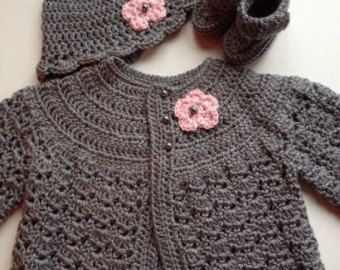 Crochet Baby Sweater Hat Set Ivory by GoingCrafty on Etsy