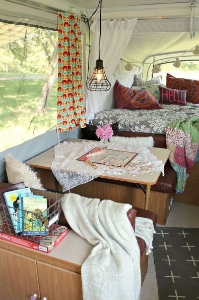 A secondhand pop up camper is given a total makeover in beautiful Boho style on a shoestring budget.