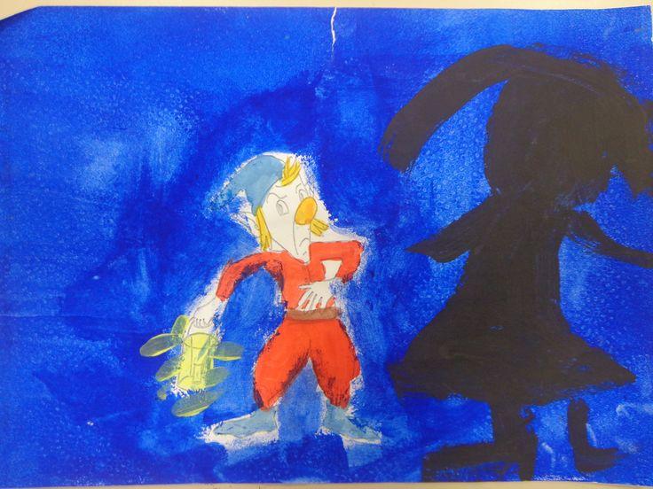la peur peinture et collage CP CE1 février 2014