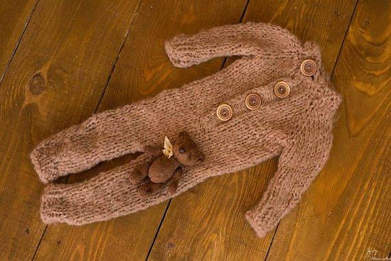 OOAK newborn props set miniature bear 9.5 cm height and baby