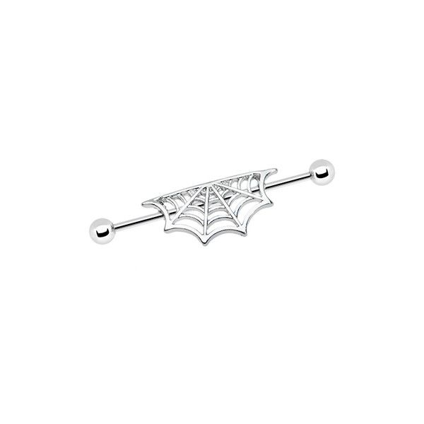 Surgical Steel Half Spider Web Industrial Barbell ❤ liked on Polyvore featuring jewelry, earrings, piercings, accessories, surgical steel earrings and surgical steel jewelry