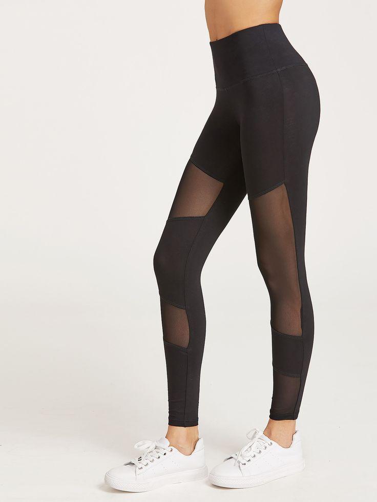 Shop Black Mesh Insert Leggings online. SheIn offers Black Mesh Insert Leggings & more to fit your fashionable needs.