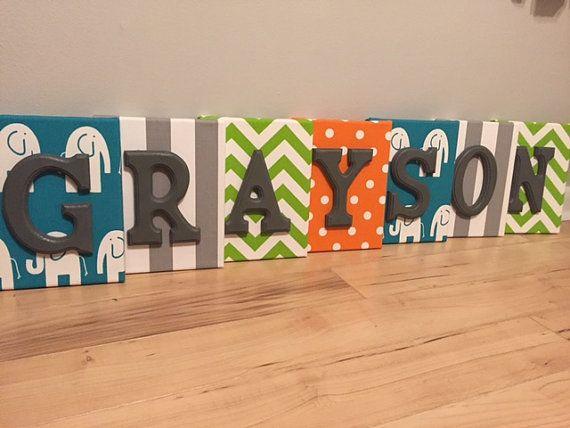 Boy Wall Canvas Letters Nursery Letters & Decor by bkstudio