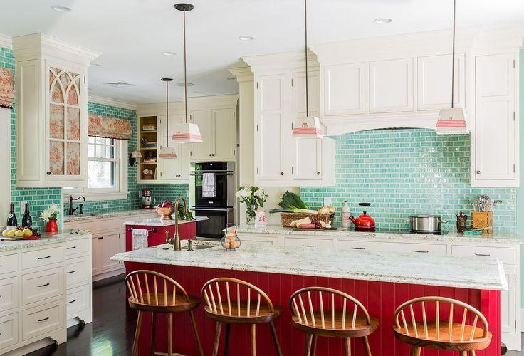 Red Lower Cabinets - ELLEDecor.com