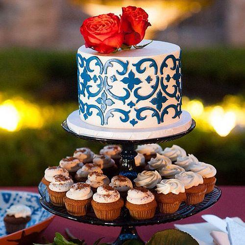 Spanish Portuguese Tile Wedding Cake