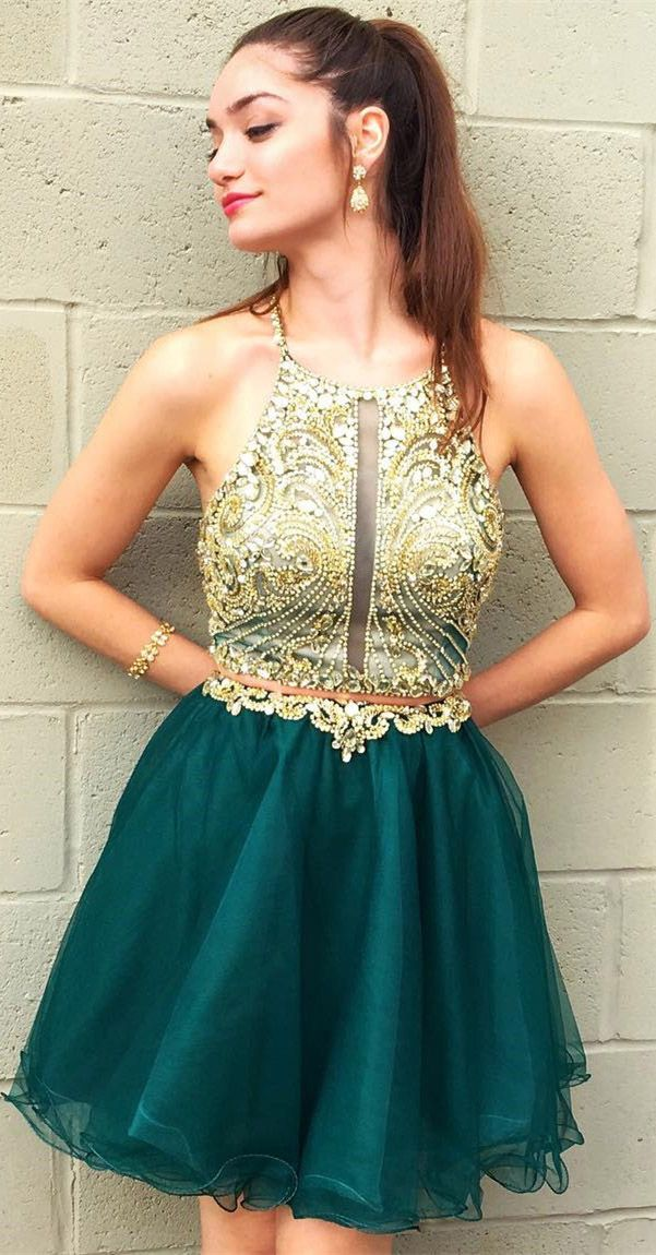f9b47bc6f0f Emerald green organza homecoming dresses.Halter neck gold lace applique two  piece short prom dress.  graduationparty  homecomingdresses   homecomingdress ...
