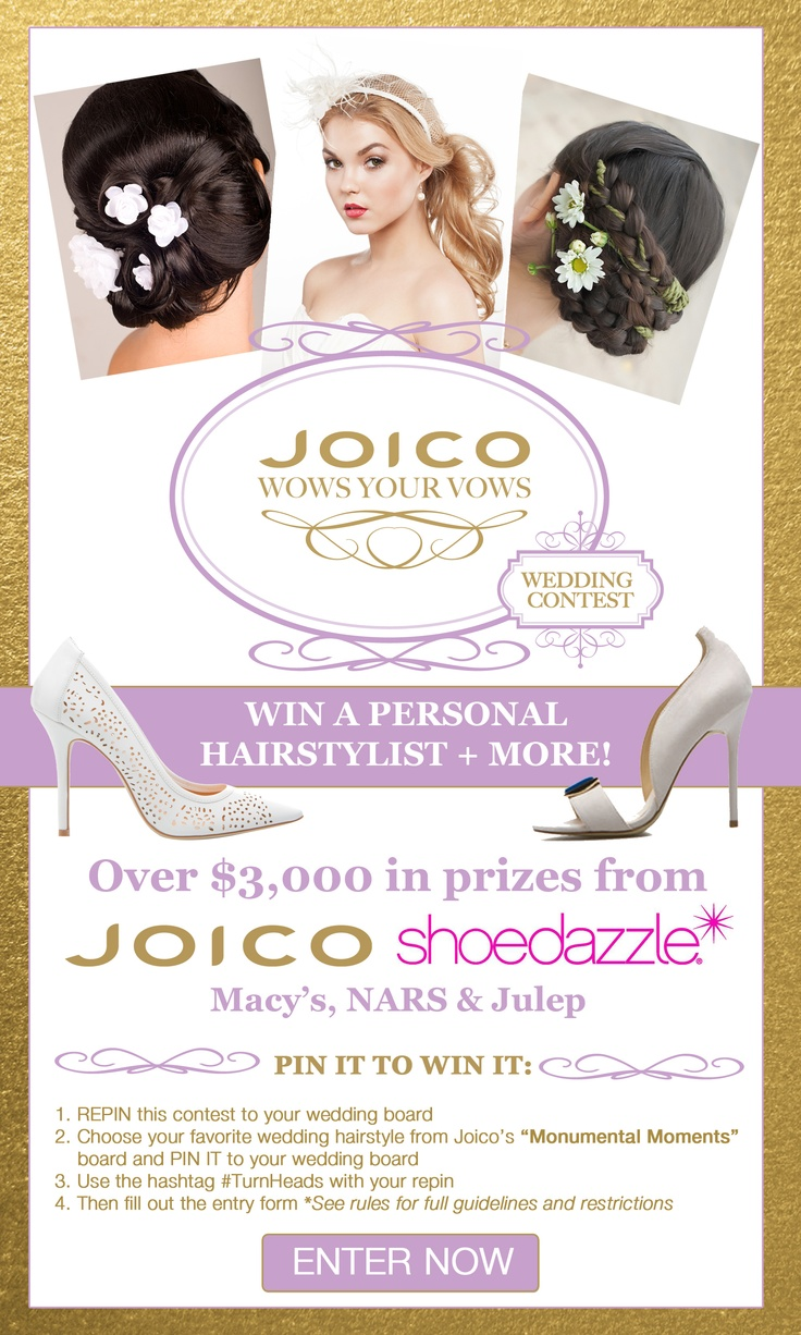 Calling all Brides - Pin It To Win It! Follow the instructions above, making sure to click here: http://www.joico.com/pinterest-wedding-sweeps/ and fill out the entry form when you're done re-pinning! #TurnHeads #wedding #contest #giveaway #sweepstakes
