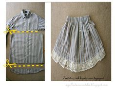 Agulha de ouro Ateliê: ✂De camisa social masculina por uma peça 2 em 1 : saia ou…