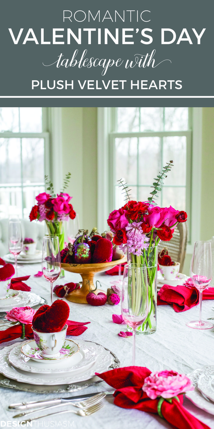 Valentine S Day Decorations Plush Velvet Hearts Tablescape Valentine Day Table Decorations Valentine Table Decorations Valentines Day Tablescapes