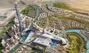 Another view of the Meydan One development showing the ski ramp.