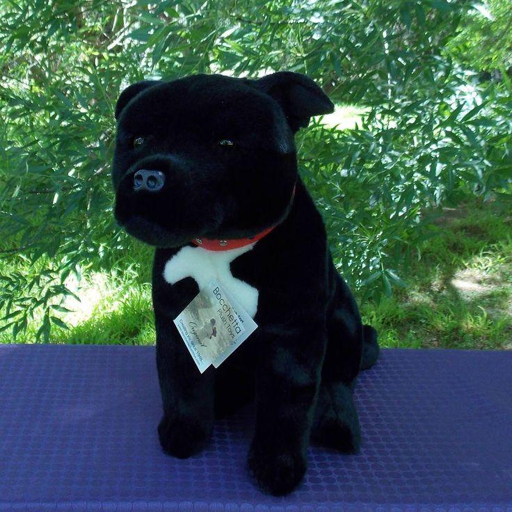 BLACK STAFFY SOFT PLUSH DOG DJ BY BOCCHETTA PLUSH TOYS I COOL CAT COLLECTABLES