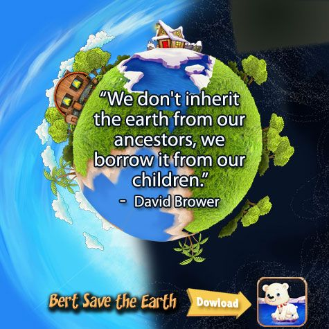 """We don't inherit the earth from our ancestors, we borrow it from our children.""   -  David Brower"
