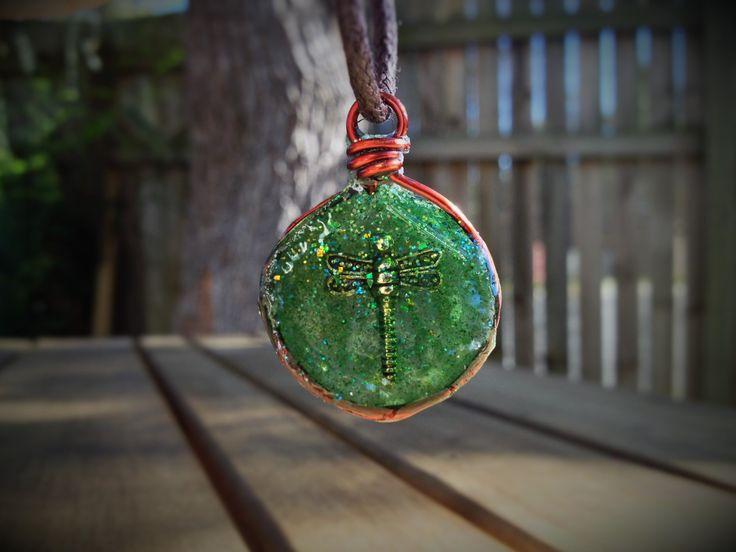 Small Dragonfly pendant - green by AshkaraDesign on Etsy