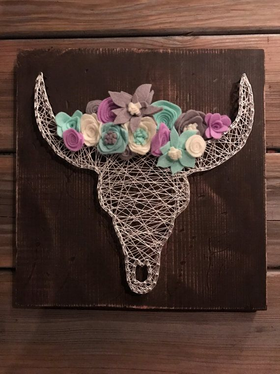 Cow Skull with Flower Crown String Art Wall by JillybeanStrings