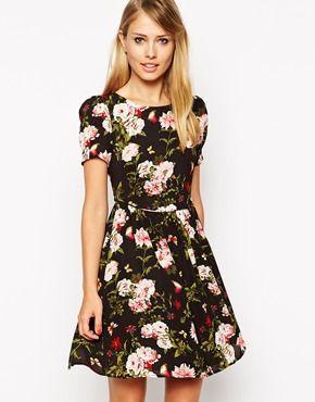 Oasis Rose Print Skater Dress