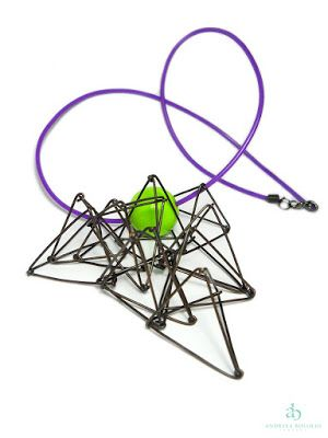 Andreea Bololoi Jewelry: Geometric contemporary necklace made with oxidized copper wire