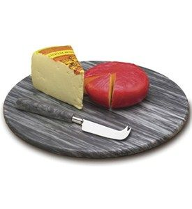 Matte finished in grey marble, this Marble Cheese Board Set is ideal to serve and display your fine cheeses and appetizers.