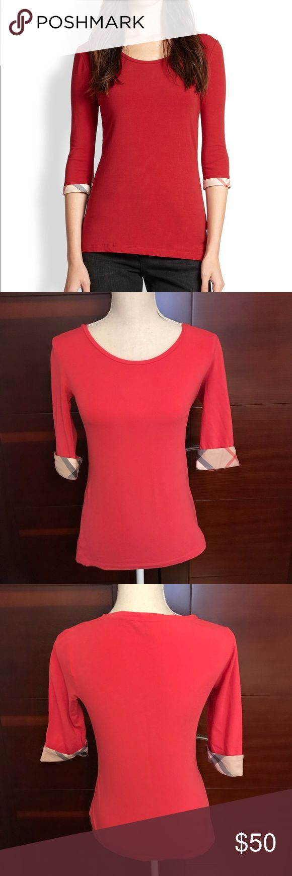Burberry women top 3/4 women tee. used couple times. color coral Burberry Tops Tees - Long Sleeve
