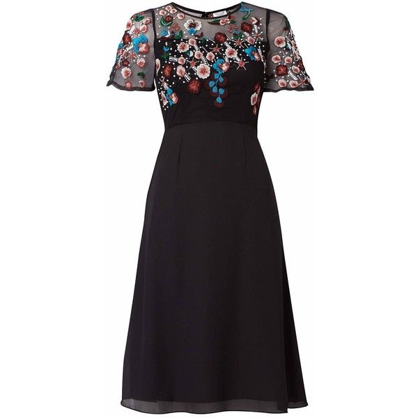 Raishma - Autumn Floral Dress ($315) ❤ liked on Polyvore featuring dresses, floral embroidery dress, netted dress, embroidered dress, floral print dress and net dress