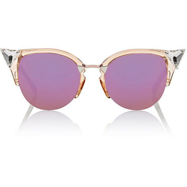 Fendi Women's Jewel-Bead-Embellished Sunglasses (875 BGN) ❤ liked on Polyvore featuring accessories, eyewear, sunglasses, multi, mirror lens sunglasses, cateye sunglasses, jeweled sunglasses, transparent sunglasses and semi rimless glasses