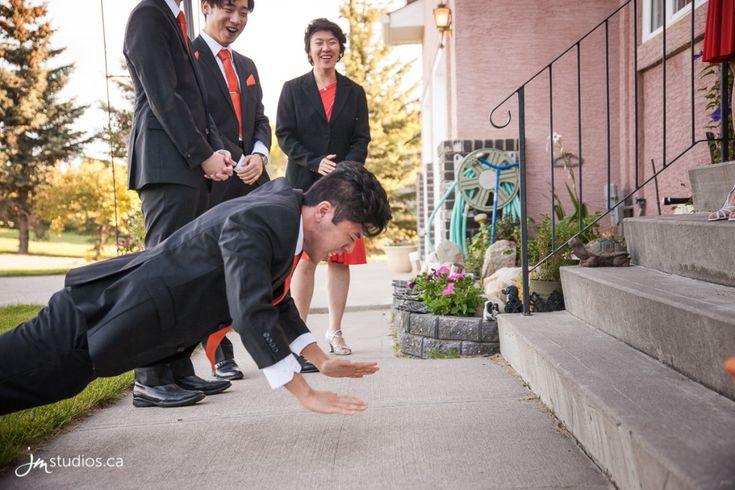 Tina and Bryan's #Wedding photos during their Traditional Vietnamese Door Games. Images by Calgary Wedding Photographers JM Photography © 2016 http://www.JMstudios.ca #JMweddings #JMstudios #JMevents #JMphotography #WeddingPhotography #WeddingPhotographers #VietnameseDoorGame #DoorGame #WeddingDoorGame #BryanTina2016