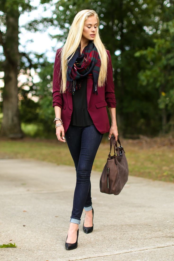 perfect burgundy jacket outfit boots