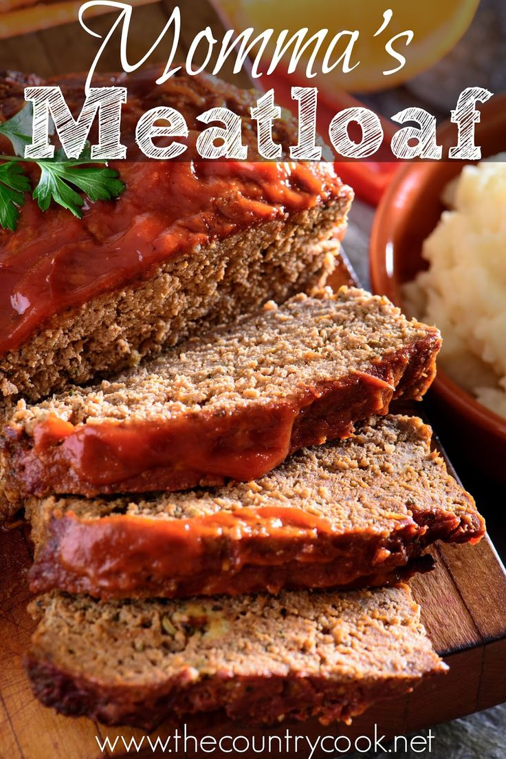 Momma's *BEST* Meatloaf : With fork make a paste with 1/2c milk, 3slices bread - torn to small pcs, Use hands to combine paste with 1lb ground beef, 1egg, 1Tbsp Worcestershire, 1/2Tbsp onion pwdr, 1/2tsp salt, 1/2tsp dry mustard, 1/4tsp pepper, 1/2tsp hot sauce, 1/4tsp garlic pwdr. Put into loaf pan. Top with 1/3-1/2c ketchup. Bake 350deg 70-80min (to 160deg). -- [OO]