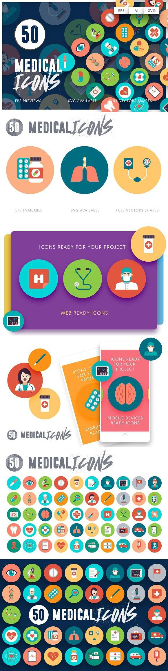 50 Medical Flat Icons. Medical Infographic