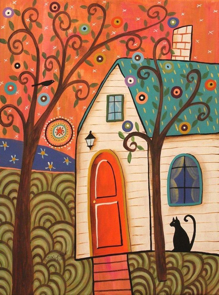 Quaint Cottage 12x16 ORIGINAL CANVAS PAINTING house cat FOLK ART Karla Gerard #FolkArtAbstractPrimitive