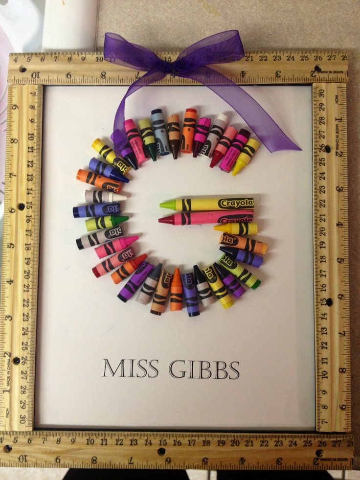 Teachers gift: Crayon Initial inside a frame with rulers hot glued for the border...