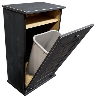 Wood tilt out trash cabinet that holds a 41 quart trash can which is included, Use this wooden trash cabinet for laundry, dog food, or recycling.  Great for the kitchen, laundry or mudroom.