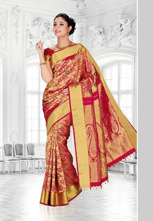 Fuchsia and Green Pure Kanchipuram Handloom Silk Saree with Blouse