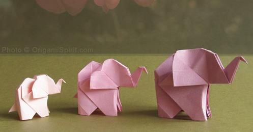 "How To Make An Origami Elephant - by Origami Spirit - == -  ""There are many origami elephants, but this one, created by Mr. Fumiaki Kawahata, is one of my all-time favorite origami animals!"" - Leyla Torres/Origami Spirit"