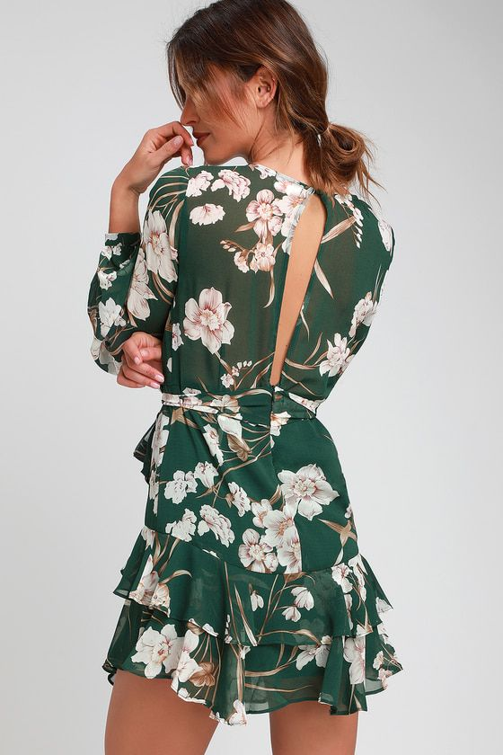 649e367ef9 Lulus | Virtue Forest Green Floral Print Ruffled Long Sleeve Dress | Size  Small | 100% Polyester