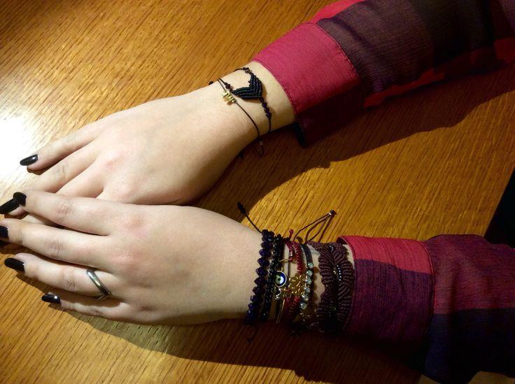 Macrame bracelets made by me!