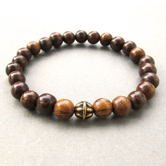Mens brown wood beaded bracelet with antique gold bead