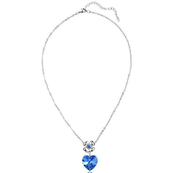 MARENJA Cristal-Regalo San Valentín-Conjuntos de Collar Pendientes y Pulsera Mujer Corazon Trebol Chapado en Oro Blanco Cristal Azul        ...