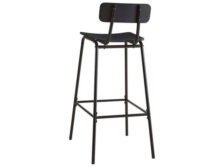 MobalpaTabouret de bar MIKA coloris noir  Vente de Chaise de cuisine